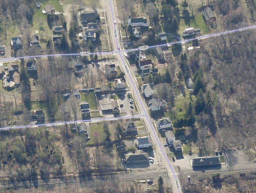An aerial photograph of the Gouldsboro area in Lehigh Townsip