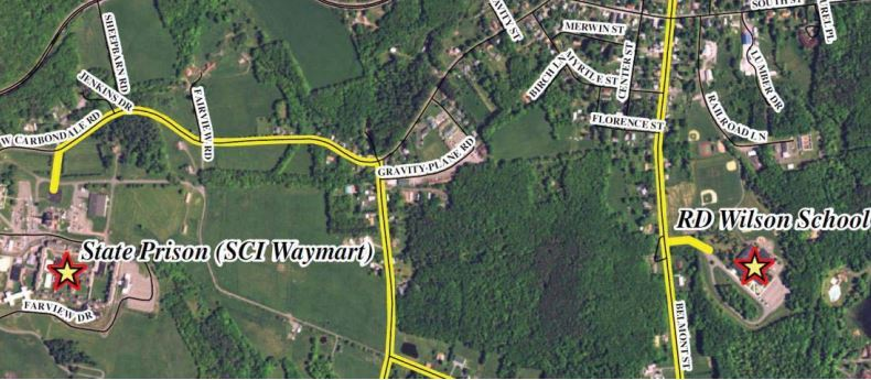 Aerial photograph were used to map out the existing Natural Gas lines in Waymart and possible expans