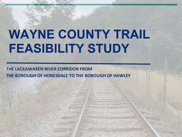 A muted image of a railroad bed through a wooded area as the cover of the Wayne County Trail Feasibi