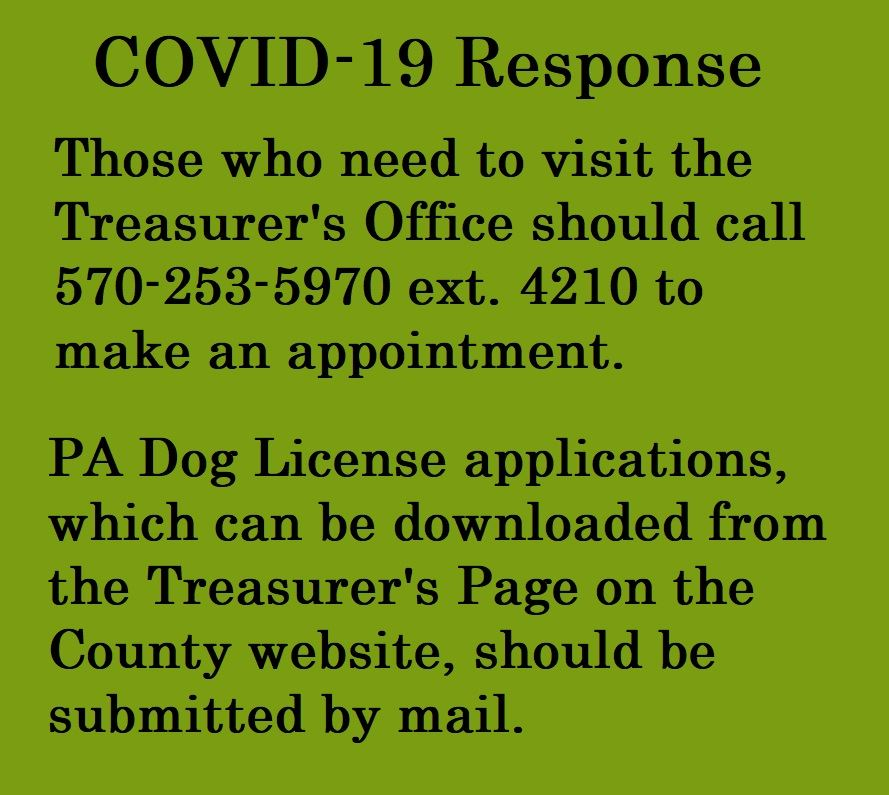 An image advising people to make an appointment before visiting the Treasurer's Office and to mai