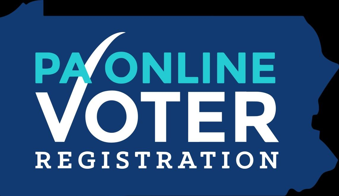 An outline of Pennsylvania with a link to the PA Online Voter Registration.