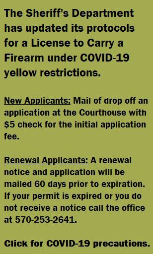A dialogue box linking to the details for applying for a License to Carry a Firearm in PA.