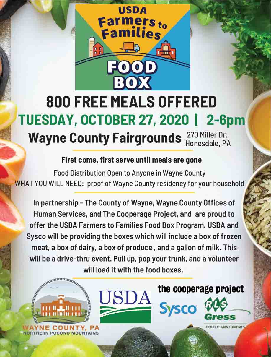 A flyer promoting the Farmers to Families food distribution Oct. 27 from 2 to 6 pm at the Fairground