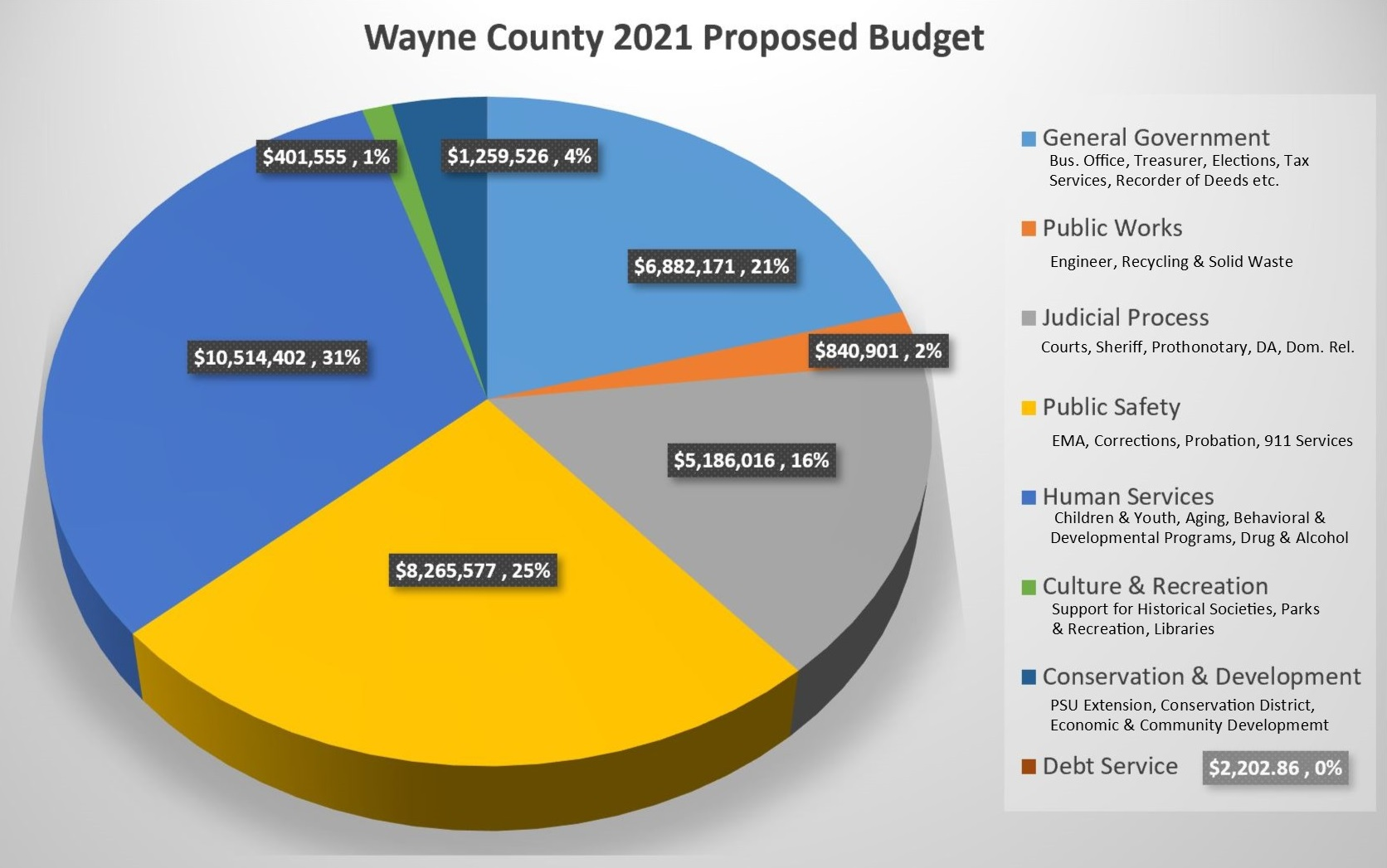 A Pie Chart showing the major expenditure categories in the proposed 2021 Wayne County Budget.