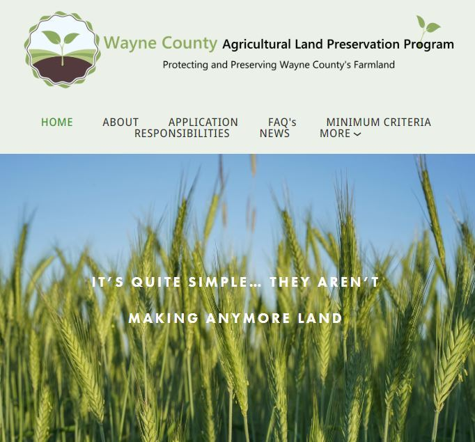 An image of the Wayne County Agricultural Land Preservation Program website and a link. Opens in new window