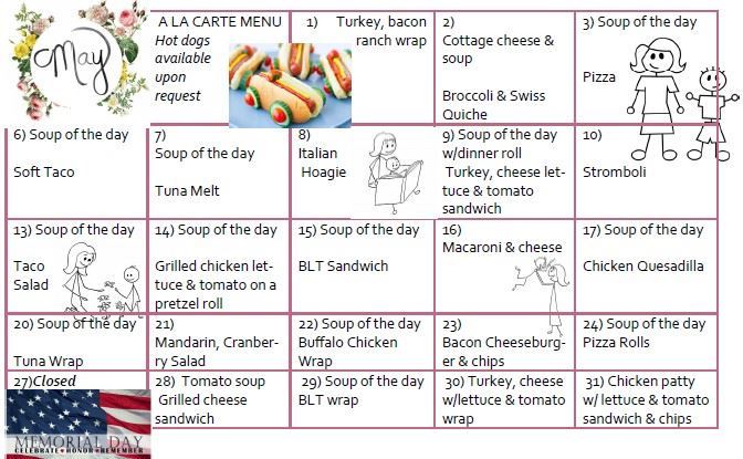A calendar-style listing of the May a la carte offerings at the Wayne County Senior Centers and Park
