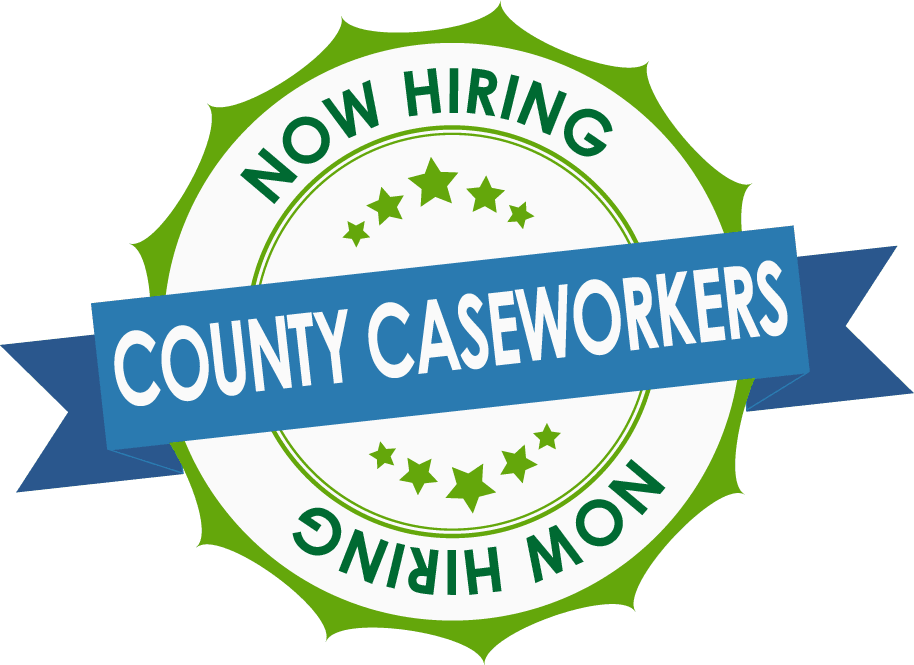 A green and blue medallion logo announce the hiring of County Caseworkers.