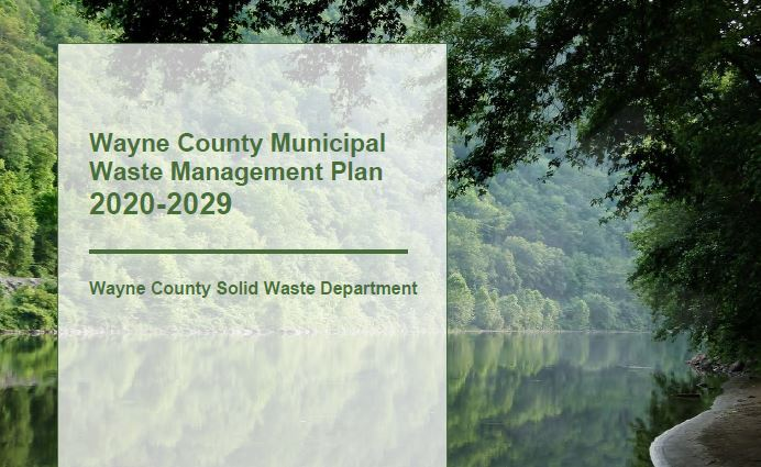 An image of the cover of the Wayne County Municipal Waste Management Plan with an image of the Delaw