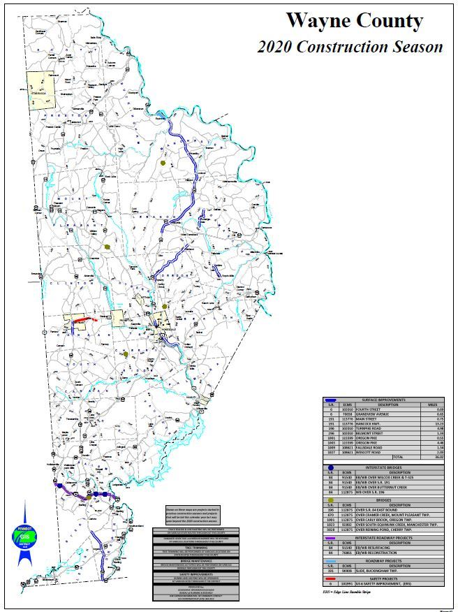 A road map of Wayne County showing the PennDOT resurfacing, bridge and safety projects for 2020. Opens in new window
