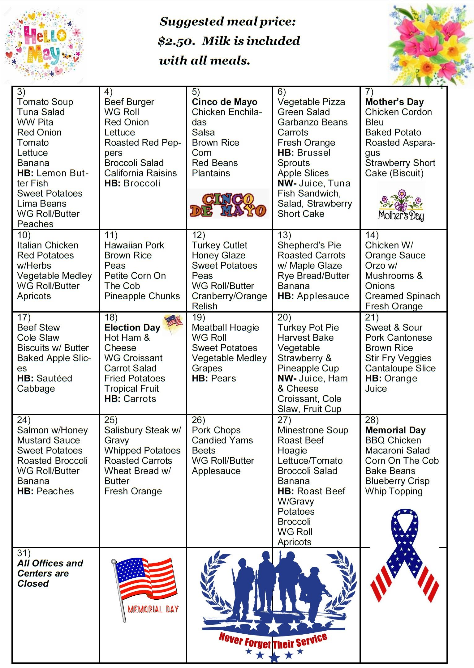 A calendar grid view of the Senior Center and Home Delivered Meals menu for the March 2021.